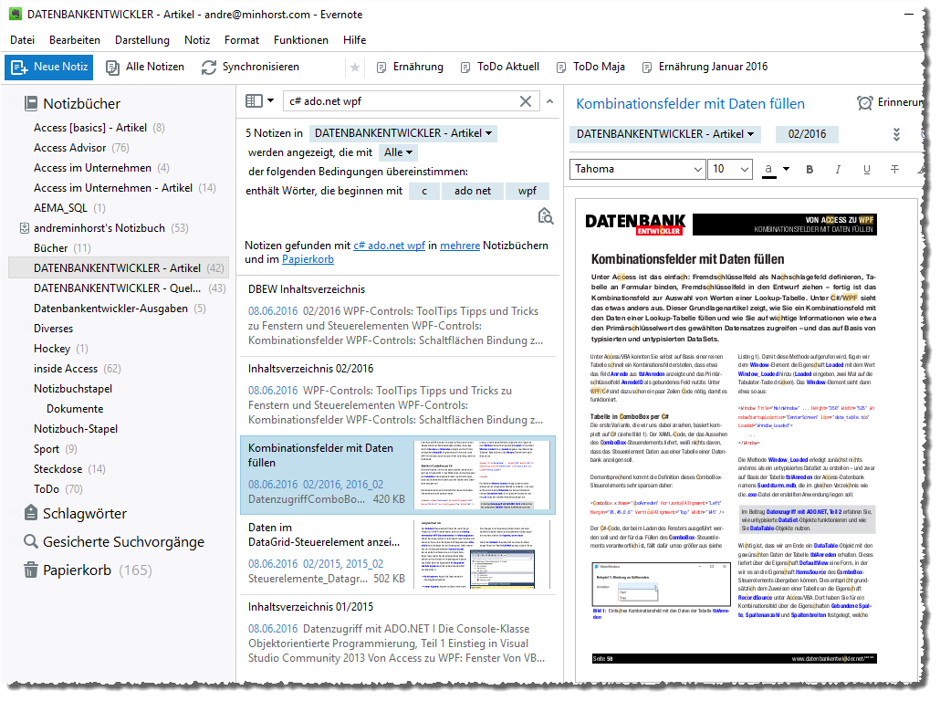 Die Suchfunktion liefert alle Ergebnisse für die mit »Und« verknüpften Suchbegriffe.