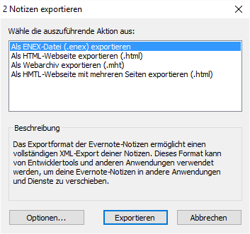 Dialog mit den Export-Optionen