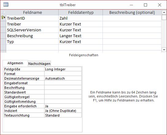 Entwurf der Tabelle zum Speichern der Treiber