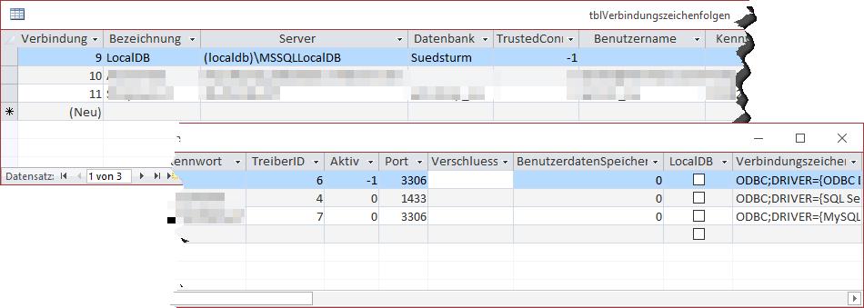 Tabelle mit den Daten einer Verbindungszeichenfolge