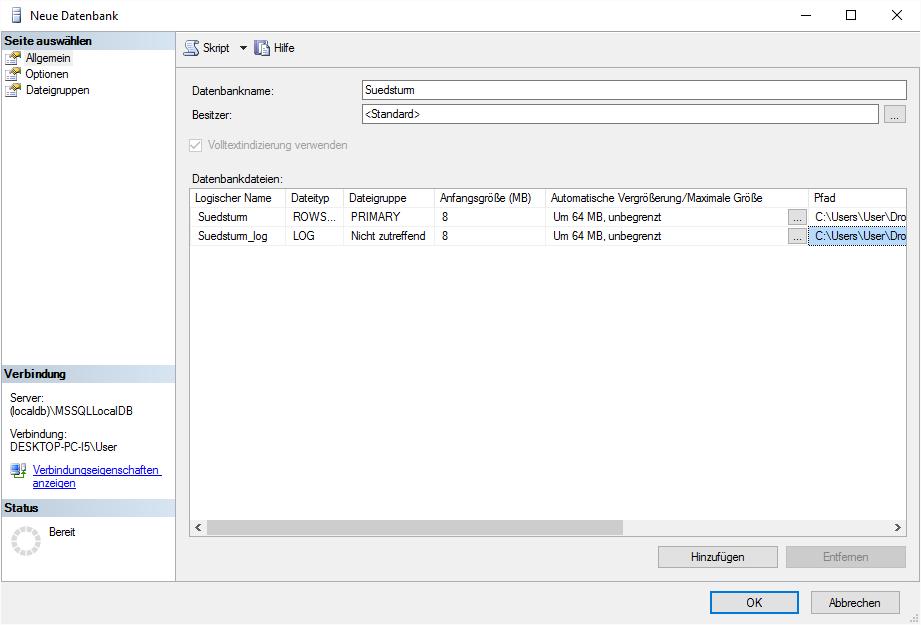 Festlegen von Eigenschaften wie dem Datenbanknamen und dem Speicherort