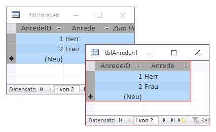 Kopieren der Inhalte einer Tabelle in eine baugleiche Tabelle