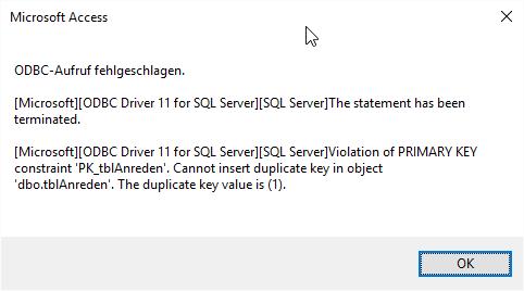 ODBC-Fehler mit Hintergrundinformationen