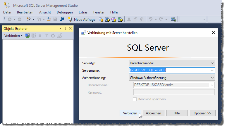 Das SQL Server Management Studio nach dem Start