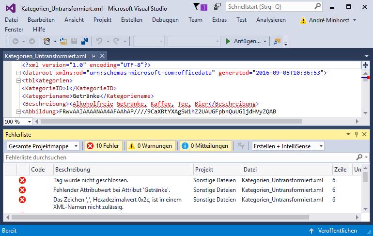 Fehlermeldungen beim Anzeigen einer XML-Datei mit unzulässigen Markupzeichen