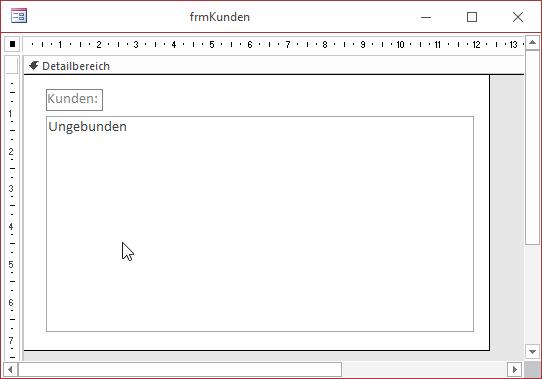 Das Formular frmKunden mit dem Listenfeld zur Anzeige der Kunden in der Entwurfsansicht