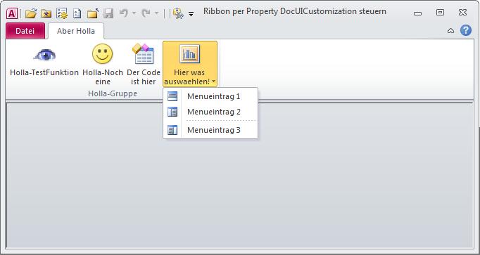 Der minimalistische Ribbon der Beispieldatenbank mit einigen Buttons und einem Menüelement