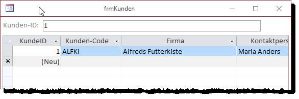 Filtern nach dem Wert 1 im Feld KundeID