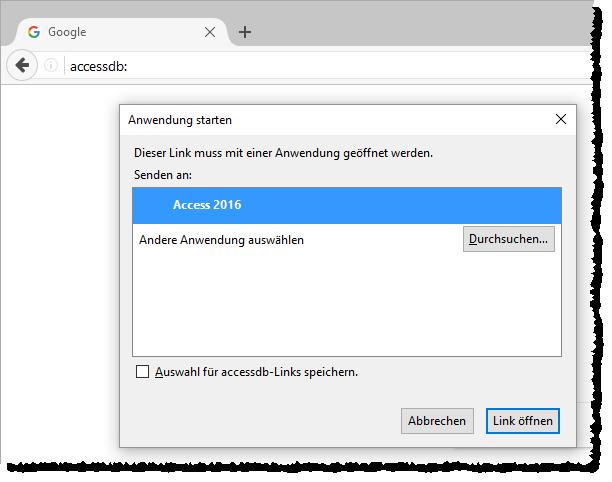 Warnmeldung beim Ausführen von Access via Browser