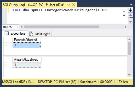 Ergebnis einer gespeicherten Prozedur im SQL Server Management Studio