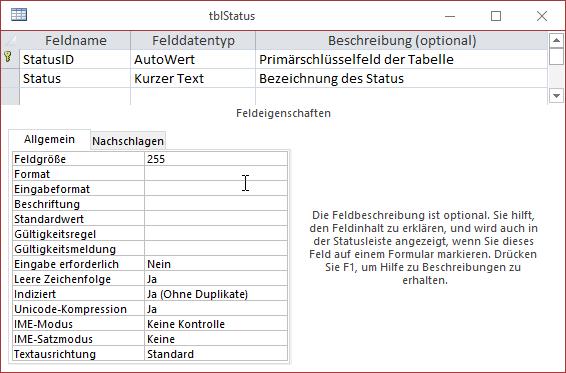 Entwurf der Tabelle tblStatus