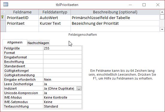 Entwurf der Tabelle tblPrioritaeten