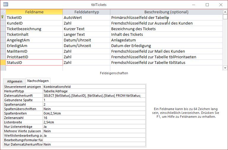 Entwurf der soeben erweiterten Tabelle tblTickets