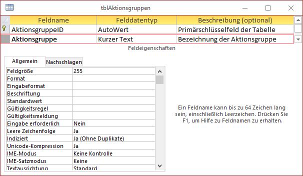 Entwurf der Tabelle tblAktionsgruppen