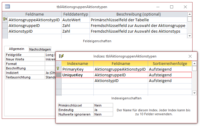 Entwurf der Tabelle tblAktionsgruppenAktionstypen
