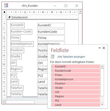 Entwurf des Unterformulars für die Anzeige der Kundendatensätze