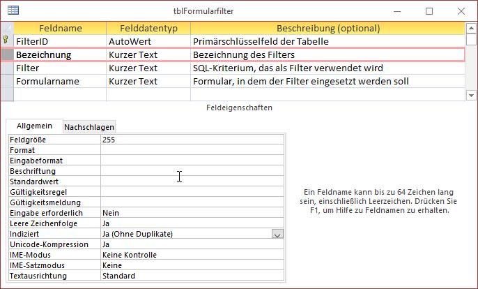 Tabelle zum Speichern der Filterkriterien