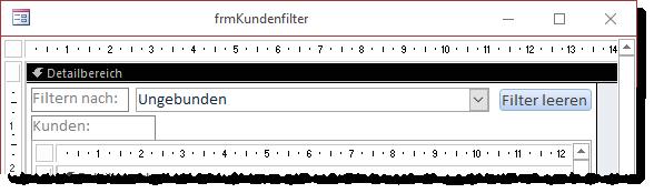 Schaltfläche zum Deaktivieren des Filters