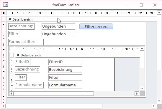Formular zum Verwalten der Filter in der Entwurfsansicht