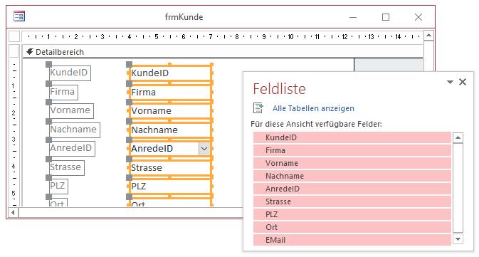 Entwurf des Kundenformulars