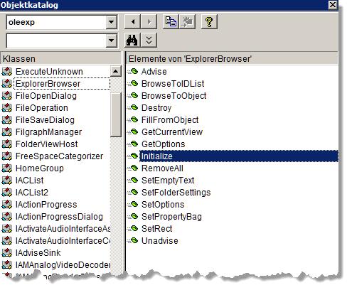 Die Klasse ExplorerBrowser und ihre Methoden im VBA-Objektkatalog