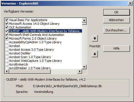 Alle Verweise des Datenbank-VBA-Projekts stammen mit Ausnahme der Bibliothek OLEEXP aus gängigen Windows- und Office-Komponenten