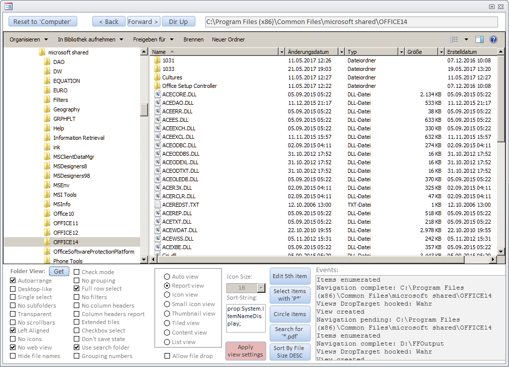 Im Formular frmExplorerCtl können unten verschiedene Einstellungen des Explorer Controls zur Laufzeit vorgenommen werden