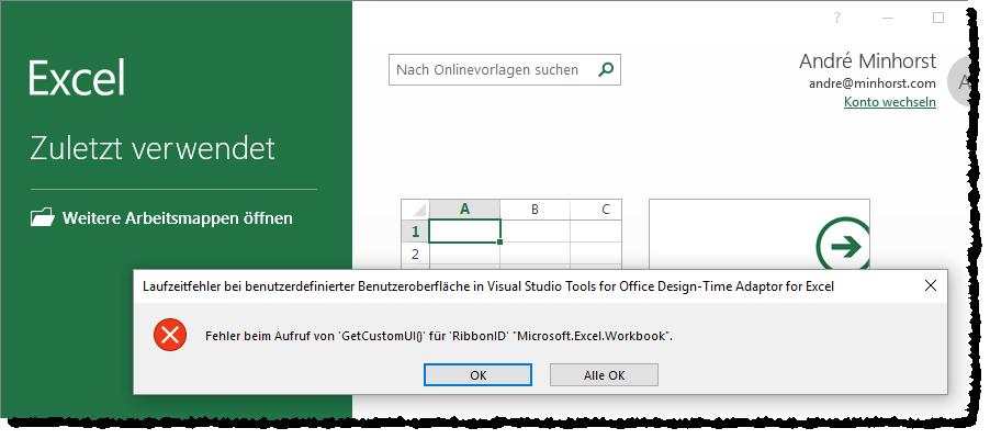 Fehler beim Start des Excel-Add-Ins