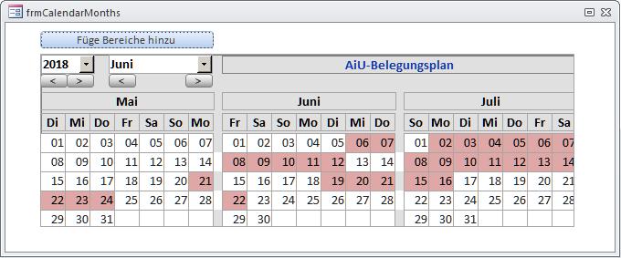 Demo des Unterformularsteuerelements Monatskalender nach Einbau in ein Hauptformular mit Markierungen