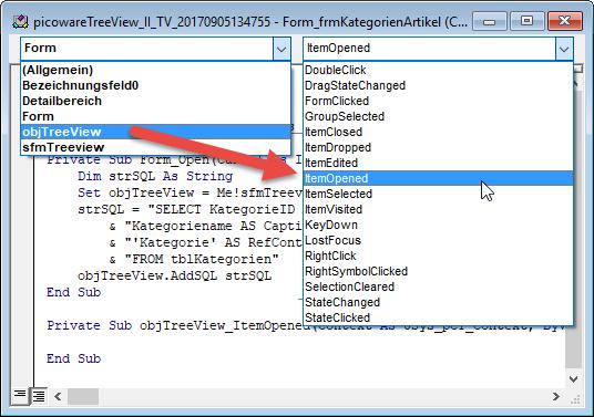 Implementieren einer Ereignisprozedur des picoware-Treeviews