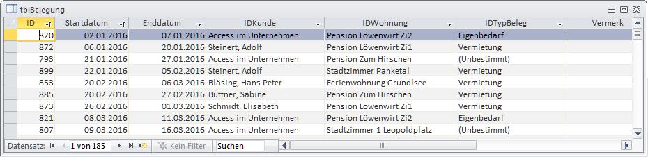 Die Tabelle tblBelegung einhält die drei Spalten IDKunde, IDWohnung und IDTypBeleg als Nachschlagefelder