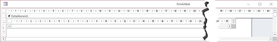 Das Unterformular sollte breit genug sein, damit keine horizontale Bildlaufleiste eingeblendet werden muss.