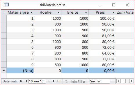 Beispieldaten in der Tabelle tblMaterialpreise