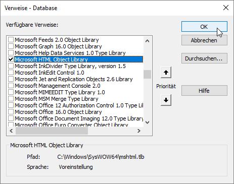 Verweis auf die Bibliothek Microsoft HTML Object Library