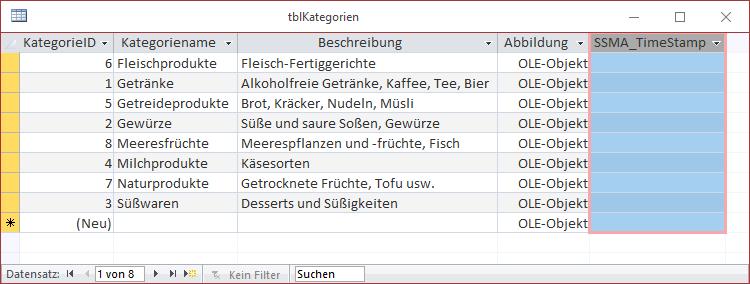 Tabelle mit Timestamp-Feld