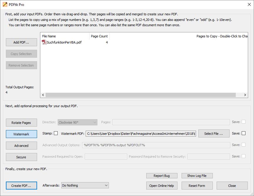 Die Benutzeroberfläche von PDFtk Pro