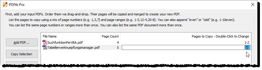Anpassen der zu berücksichtigenden Seitenzahlen