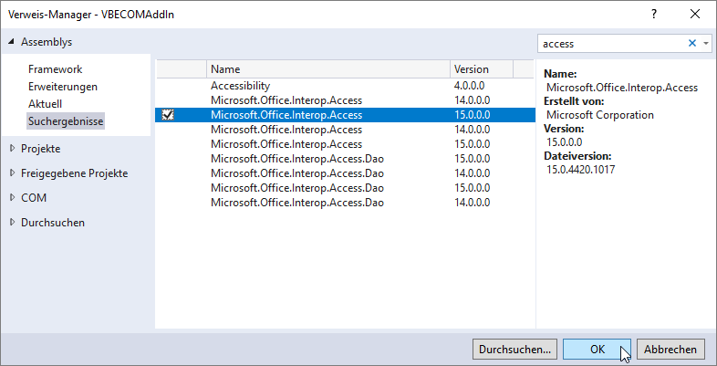 Einbinden des Namespaces Microsoft.Office.Interop.Access