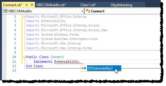 Implementieren der Schnittstelle Extensibility.IDTExtensibility2