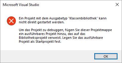 Fehlermeldung beim Versuch, das Projekt zu debuggen