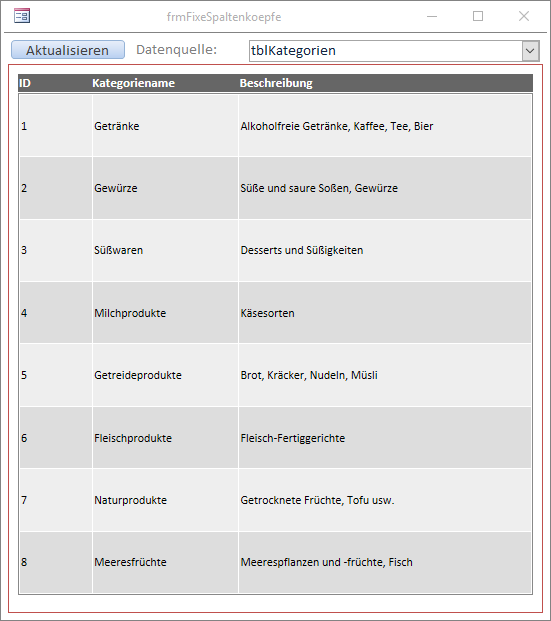 HTML-Tabelle mit Scrollbalken