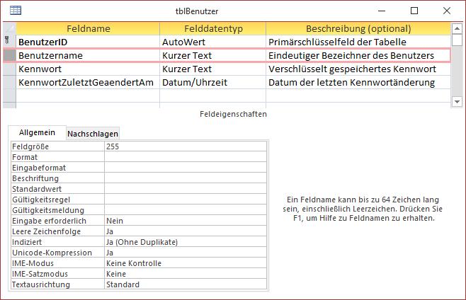 Tabelle zur Verwaltung der Benutzer