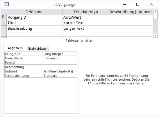 Die Tabelle tblVorgaenge in der Entwurfsansicht