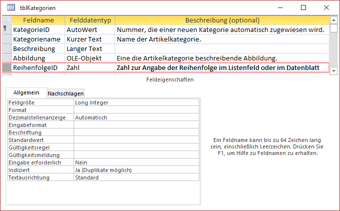 Entwurf der Tabelle tblKategorien